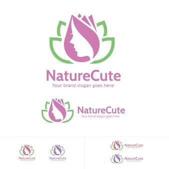 Logo de la fleur et des feuilles de la femme beauté