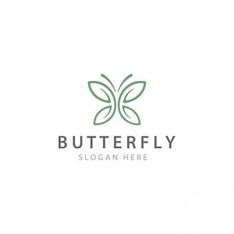 Logo de fleur de feuilles de papillon minimaliste