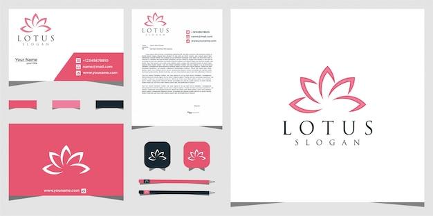 Logo de fleur de lotus. centre de yoga, spa, logo de luxe de salon de beauté. création de logo et carte de visite.