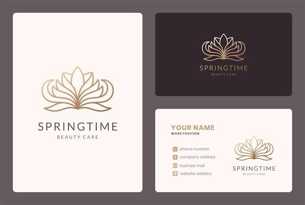 Logo de fleur de lotus en ligne mono et conception de carte de visite.