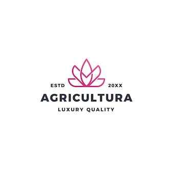Logo de fleur de lotus rose et agriculture