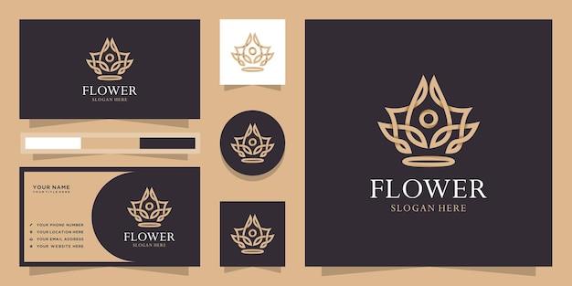 Logo de fleur de lotus de style linéaire créatif
