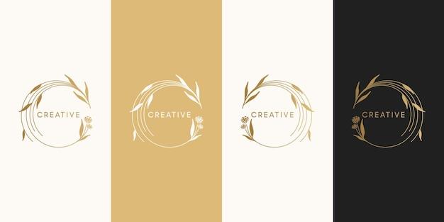 Logo de fleur de luxe féminin, spa, salon, nature, boutique, mariage, fleuriste et autre