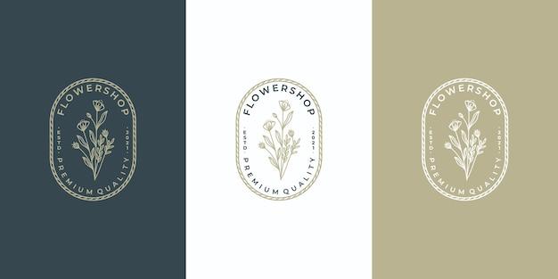 Logo de fleur de luxe avec modèle d'insigne de cercle,