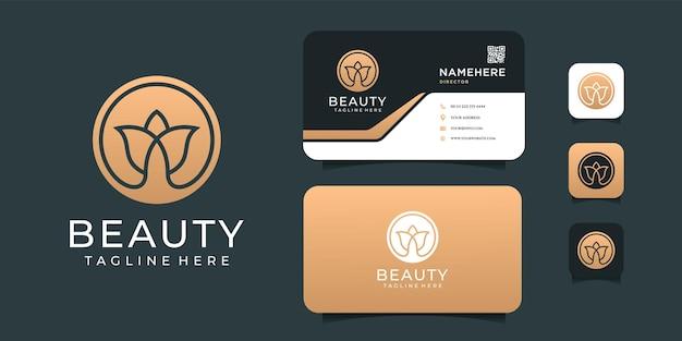 Logo de fleur de luxe spa or beauté