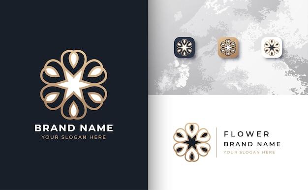Logo de fleur de luxe avec trois couleurs