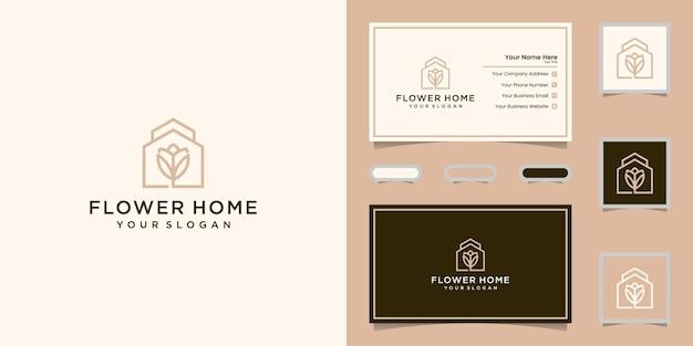 Logo de fleur de maison et carte de visite
