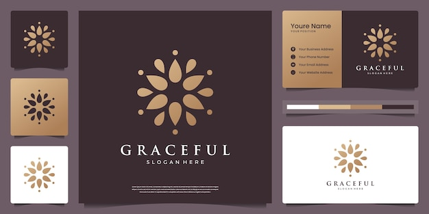 Logo de fleur de mandala doré de luxe avec carte de visite