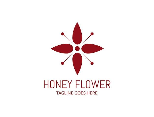 Logo de fleur de miel en fleurs rouge