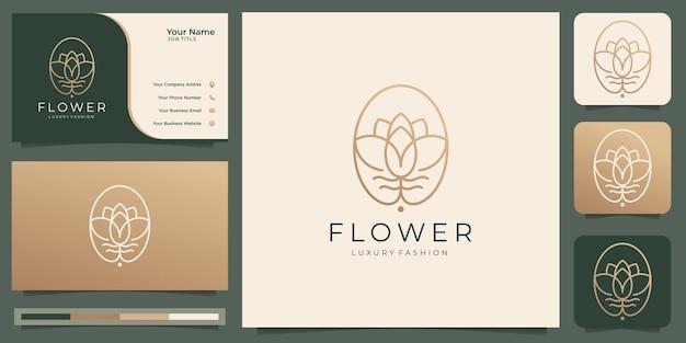 Logo de fleur minimaliste rose de beauté de luxe pour salon de mode soins de la peau cosmétique abstrait lotus yoga et spa produits modèles de logo avec conception de carte de visite vecteur premium