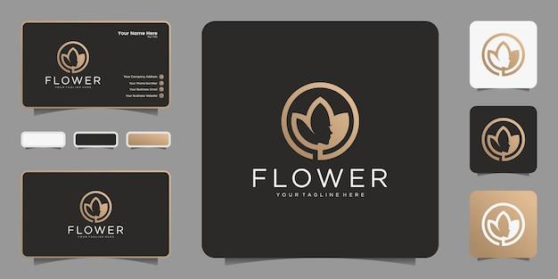 Logo de fleur minimaliste avec un visage de femme et un design de cercle, un symbole et une carte de visite