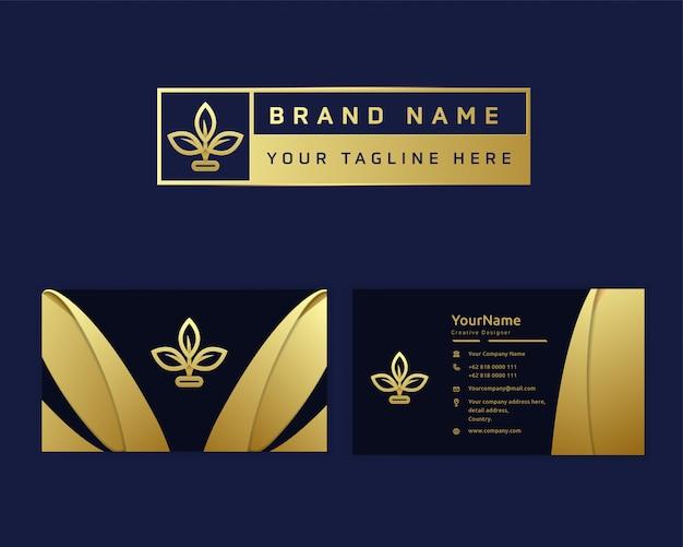 Logo de fleur d'or de luxe premium pour entreprise de magasin de boutique