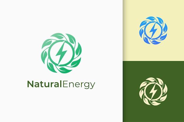 Logo de fleur ou de puissance en feuilles et en forme d'éclair pour la technologie