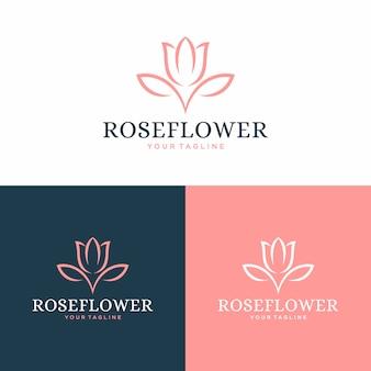 Logo de fleur rose et concept de design d'icône.