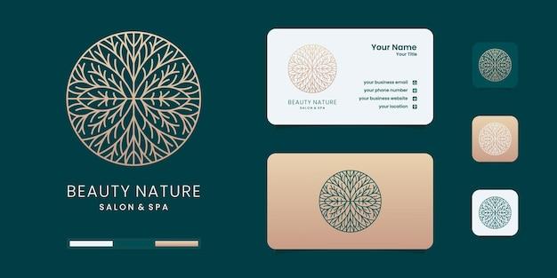 Logo De Fleur Rose Avec Modèle D'insigne De Cercle. Inspiration De Conception De Logo Vecteur Premium