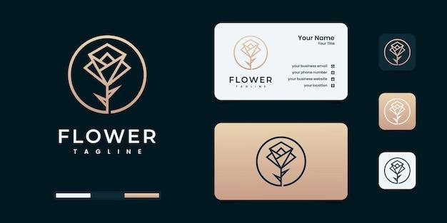 Logo de fleur rose avec modèle d'insigne de cercle premium