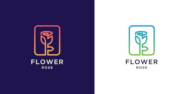 Logo de fleur rose avec style d'art en ligne