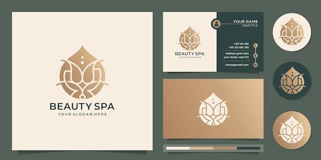 Logo de fleur de spa beauté mode de luxe goutte or conception de concept d'huile essentielle avec modèle de carte de visite vecteur premium