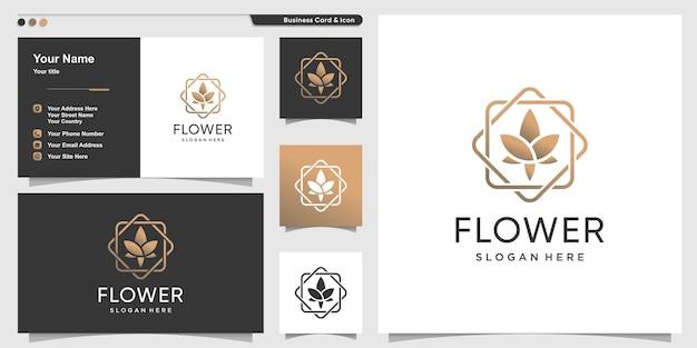 Logo de fleur avec style d'art de ligne de beauté et conception de carte de visite vecteur premium