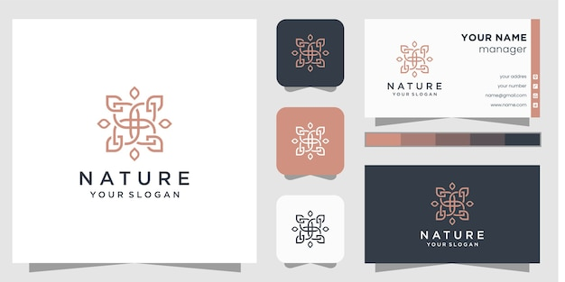 Logo de fleur avec style d'art en ligne et carte de visite