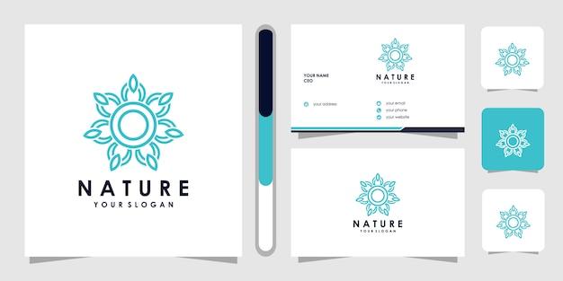 Logo de fleur avec style d'art en ligne. les logos peuvent être utilisés pour spa, salon de beauté, décoration, boutique. et carte de visite