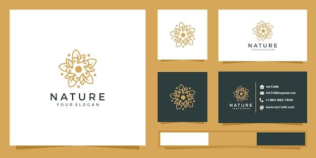 Logo de fleur avec style de ligne. logo et cartes de visite