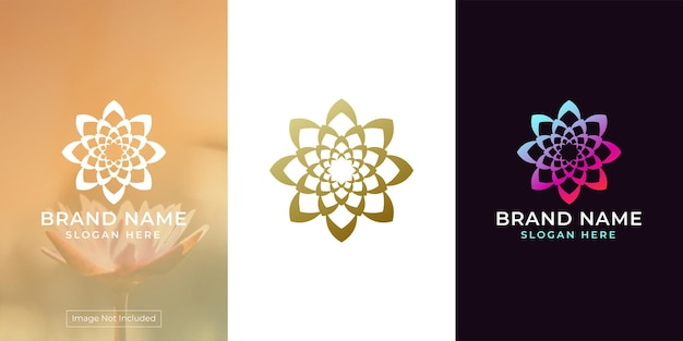 Logo de fleur avec style d'ornement circulaire luxueux et exclusif