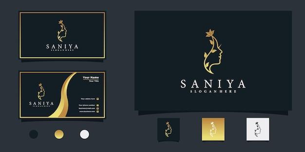 Logo de fleur de visage de femme de beauté avec dégradé d'or et conception de carte de visite vecteur premium