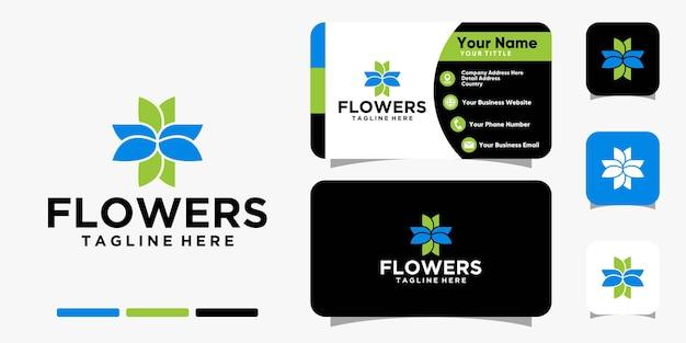 Logo de fleurs de beauté et modèle de vecteur de conception de carte de visite
