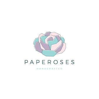 Logo de fleurs géométriques en papier rose