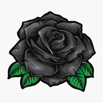 Logo de fleurs vectorielles roses noires
