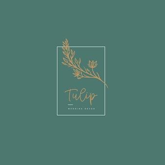 Logo floral dessiné main minimaliste