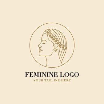Logo floral féminin de beauté de visage de femme avec la couronne de laurier pour la marque de soins de cheveux de peau de salon de station thermale