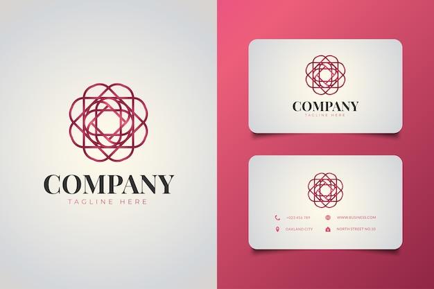 Logo floral géométrique minimaliste dans un style linéaire avec concept dégradé violet et modèle de carte de visite