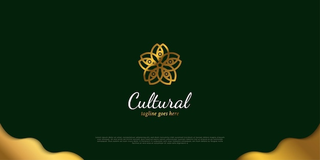 Logo floral de luxe de couleur dorée