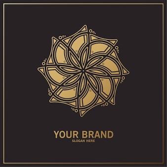 Logo floral de luxe avec ornement