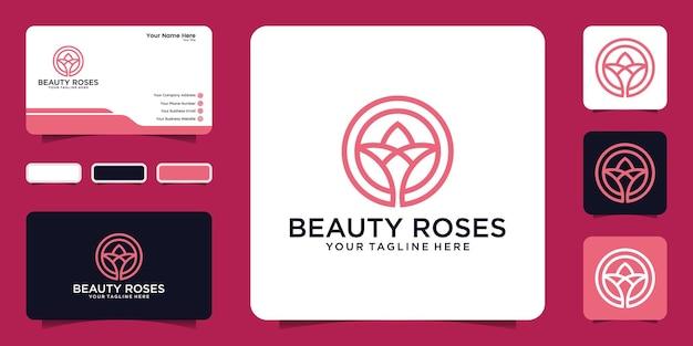 Logo floral minimaliste avec inspiration cercle et carte de visite