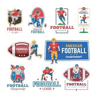 Logo de footballeur footballeur ou personnage de joueur de football en tenue de sport jouant avec le football sur l'illustration de terrain de football