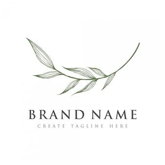 Logo en forme de feuille luxueux et élégant