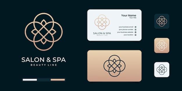 Logo de forme de monogramme d'art de ligne de salon de beauté féminin et de spa. inspiration de conception de logo d'or.