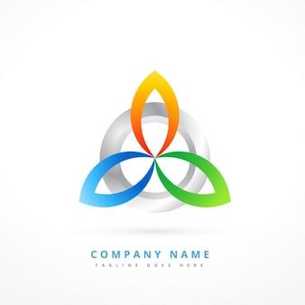 Logo avec des formes abstraites métalliques