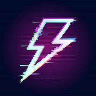 Logo de foudre abstrait glitch