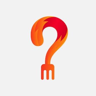Le logo de la fourche fond et le feu
