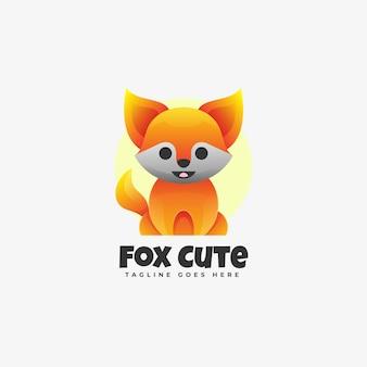 Logo fox style de dégradé mignon.