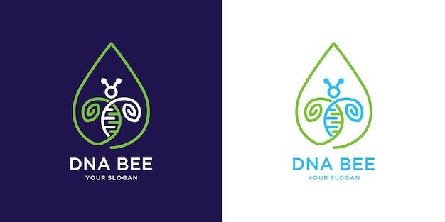 Logo frais d'abeille de miel avec la conception de goutte d'eau