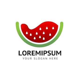 Logo frais d'éclaboussure de fruit de pastèque