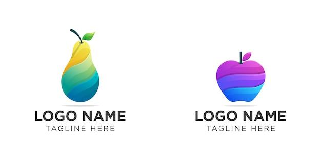 Logo de fruits colorés collection