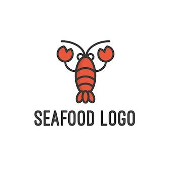 Logo de fruits de mer isolé en blanc