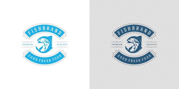 Logo de fruits de mer ou signe marché aux poissons et restaurant modèle silhouette de thon