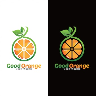 Logo de fruits orange frais